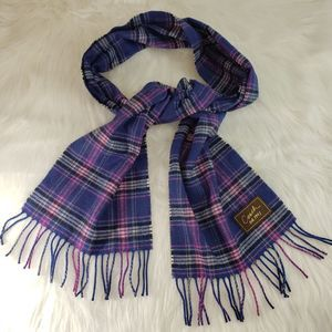 COACH Purple Plaid Wool Cashmere Fringe Edge Scarf